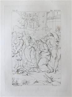 ANTIQUE ITALIAN RELIGIOUS PRINT BIBLE SCENE JESUS BIRTH