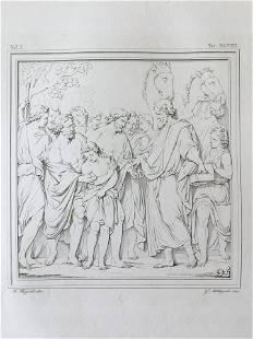 ANTIQUE ITALIAN RELIGIOUS PRINT BIBLE SCENE