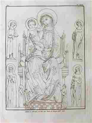 ANTIQUE PRINT AFTER VITALE DA BOLOGNA PAINTING 1345