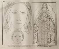 ENGRAVING CHRISTOPHE DE BOLOGNE PAINTING 1380 VIRGIN
