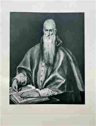 LARGE ETCHING AFTER EL GRECO ST JEROME AS CARDINAL