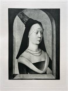 LARGE ETCHING AFTER FRENCH MASTER PORTRAIT OF A WOMAN