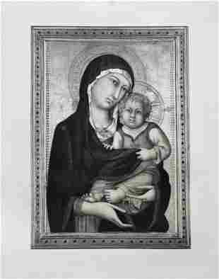 LARGE ETCHING AFTER LIPPO VANNI MADONNA AND CHILD
