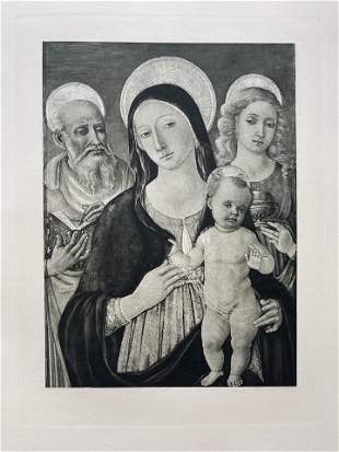 LARGE ETCHING AFTR MATTEO DI GIOVANNI MADONNA AND CHILD