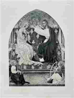 LARGE ETCHING AFTER GIOVANNI DI PAOLO CORONATION VIRGIN