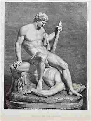 ENGRAVING AFTER ANTONIO CANOVA THESEUS AND THE MINOTAUR
