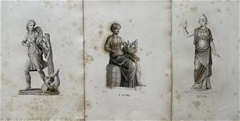 LOT OF 3 ANTIQUE NEOCLASSICAL ENGRAVINGS