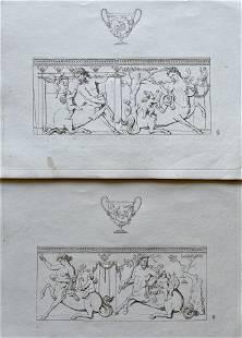 TWO ARCHITECTURAL ENGRAVINGS GREEK ROMAN CENTAUR