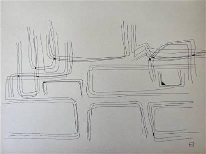 MINIMALIST INK ON PAPER DRAWING EDUARDO CHILLIDA (St)