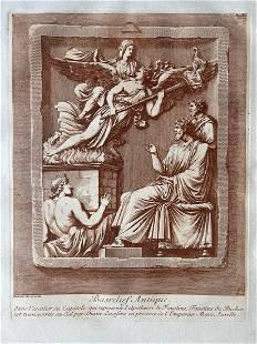 MARCUS AURELIUS ANTIQUE SEPIA ETCHING CA 1780 BARBAULT