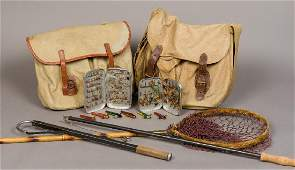 A Hardy canvas fishing bag Together with a Brady canvas