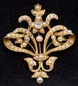 A Victorian 15 ct gold, diamond and seed pearl set