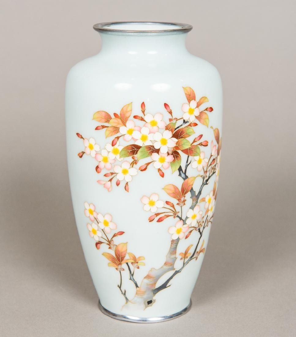 A Japanese cloisonne vase Of tapering slender bulbous