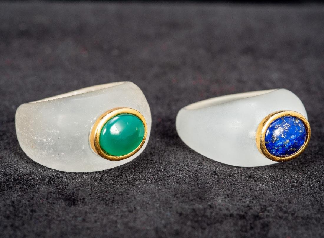 A lapis lazuli and gold set ring Together with a