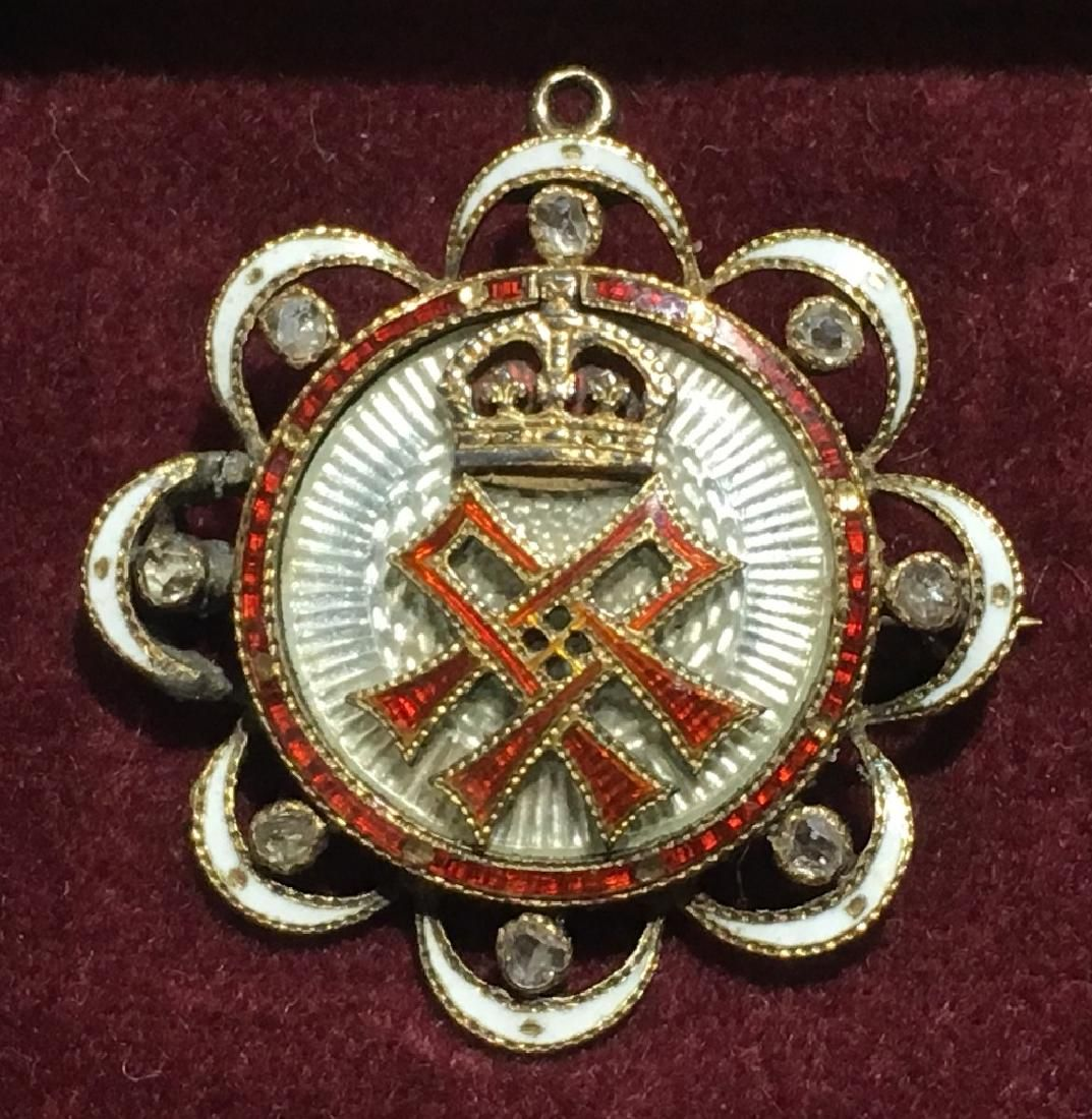 A Victorian unmarked gold, diamond and enamel
