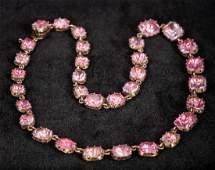 A Georgian unmarked gold pink topaz set necklace 36 cm