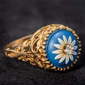 An unmarked gold, diamond and jasperware set ring The