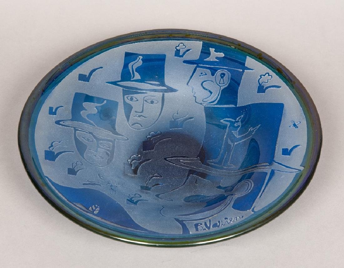 A Kosta Boda blue Art glass bowl Decorated with various