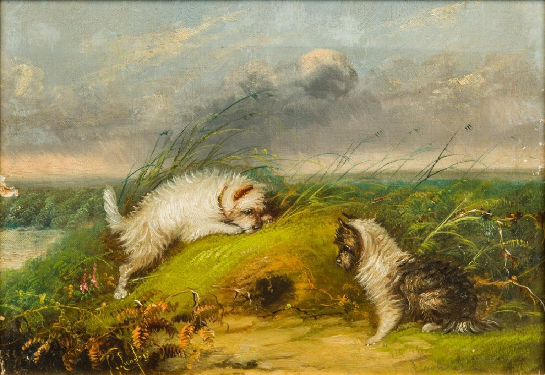 T LANGLOIS (19th century) British Terriers by a Rabbit