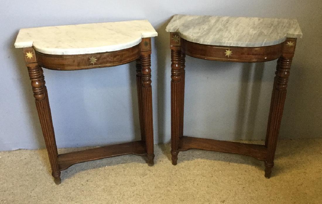 A pair of Regency brass inlaid mahogany pier tables - 2