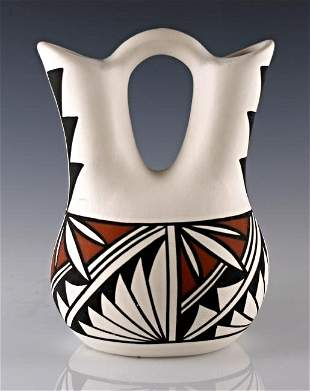 Acoma Pueblo Pottery: Wedding Vase, Signed