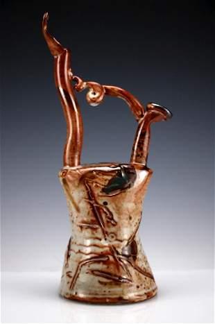 Rare John Glick Plum Tree Pottery Abstract Ewer Wedding