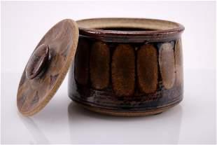 Vintage Signed Stoneware Lidded Jar