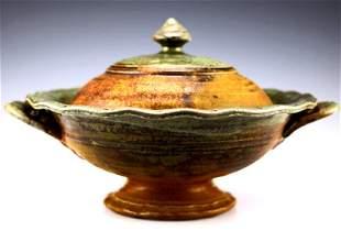 John Glick Plum Tree Pottery Large Lidded Bowl