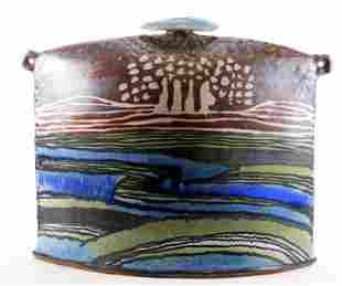 Large Glazed Mid Century Abstract Art Pottery Vase