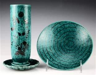 Gustavsberg Argenta Pottery Plate / Vase Set