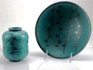 Gustavsberg Argenta Pottery Plate / Bowl Set