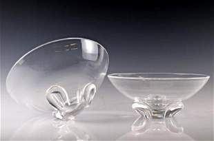 Pair of Steuben Tri Footed Bowls
