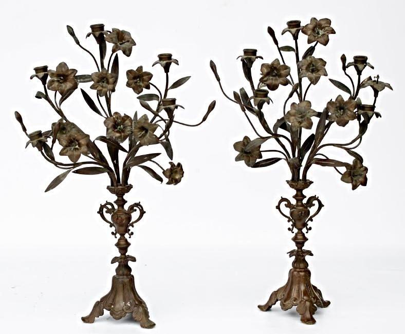 Vintage Art Nouveau Bronze Candelabra Set
