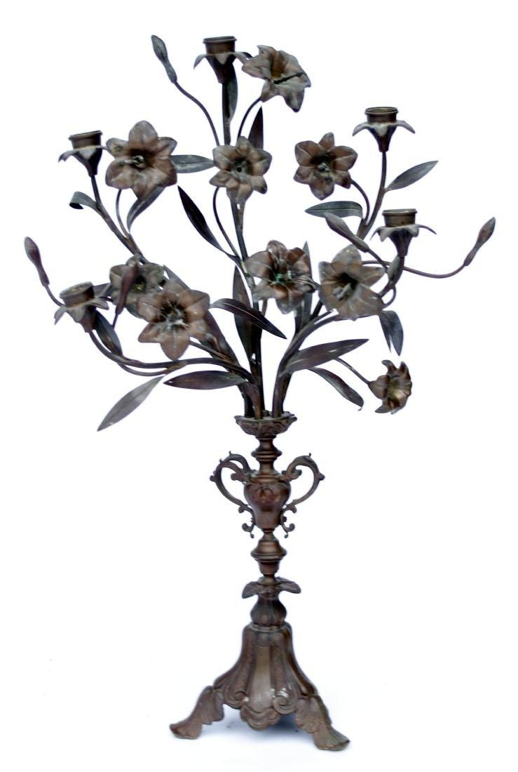 Vintage Art Nouveau Bronze Candelabra Set - 3
