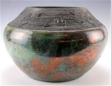 Vintage Burnished Art Pottery Bowl