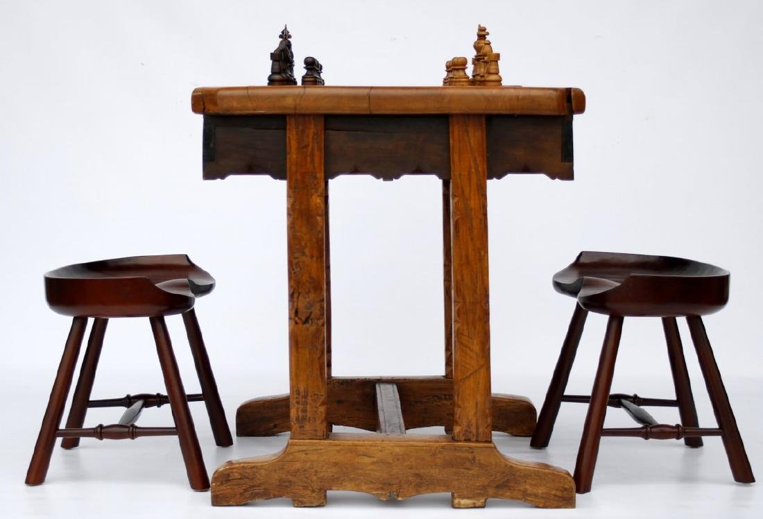 Antique Solid Wood Chess Game Table + Chairs