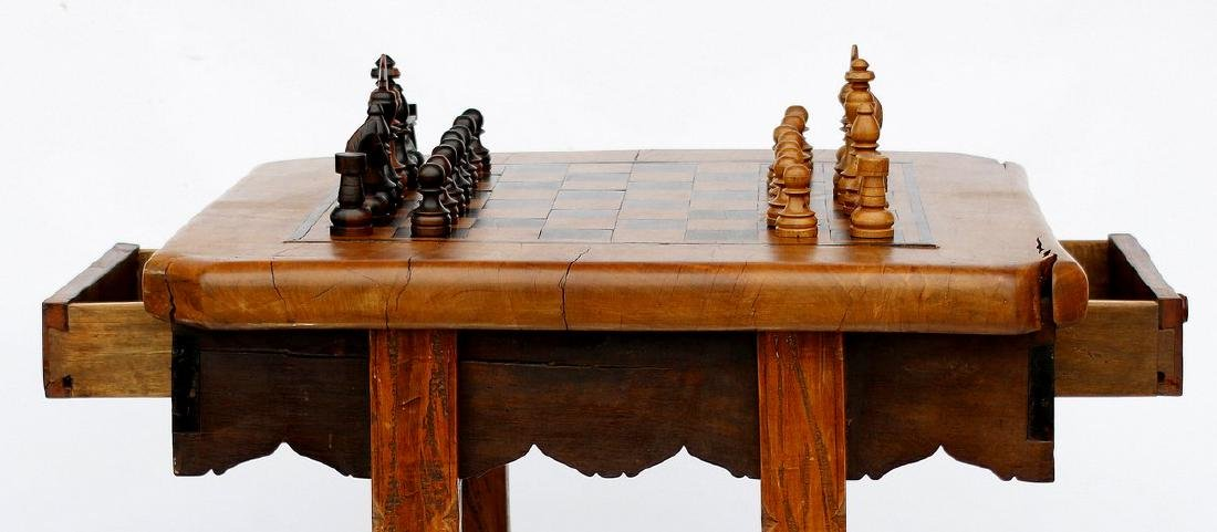 Antique Solid Wood Chess Game Table + Chairs - 2