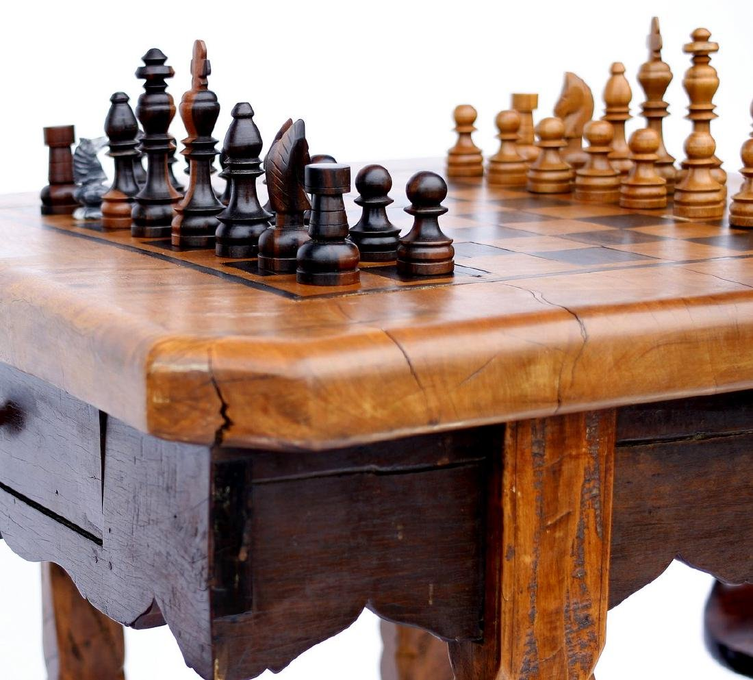 Antique Solid Wood Chess Game Table + Chairs - 3