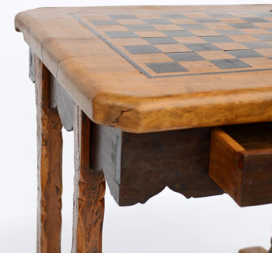 Antique Solid Wood Chess Game Table + Chairs - 4