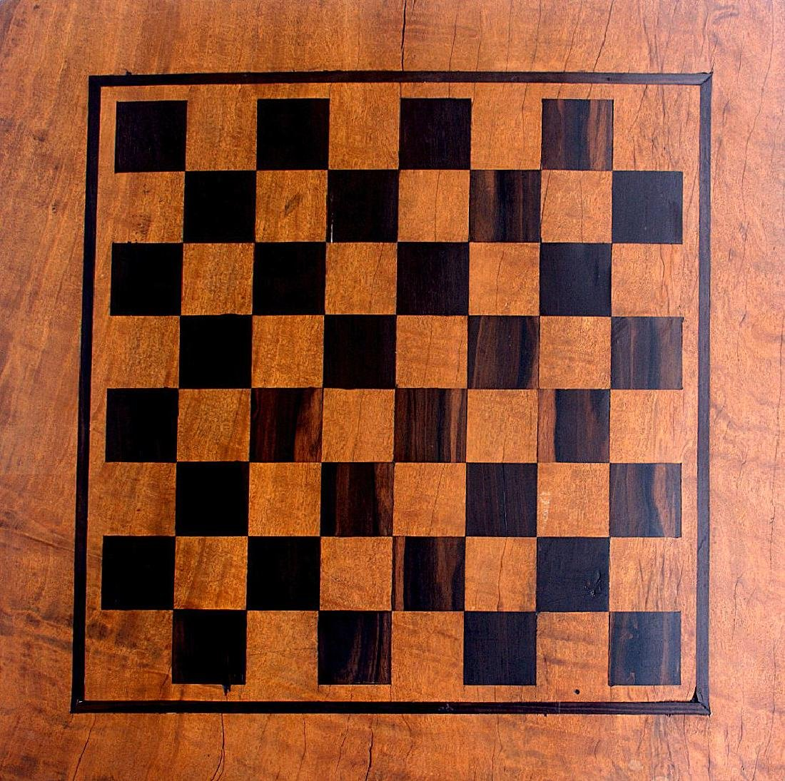 Antique Solid Wood Chess Game Table + Chairs - 6