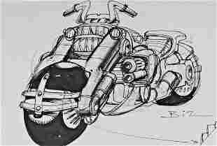 Simon Bisley Signed Judge Dredd motorcycle Sketch