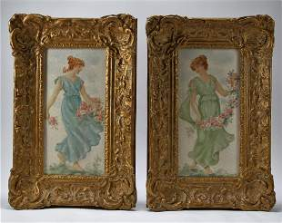 Victorian Oil Paintings On Plaque Tile