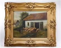 Antique Oil Painting, Pastoral Farm Scene