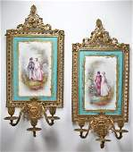 Hand Painted French Porcelain Sevres Sconce Set