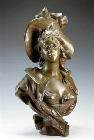 Coudray - Art Nouveau Young Beauty Bronze Bust