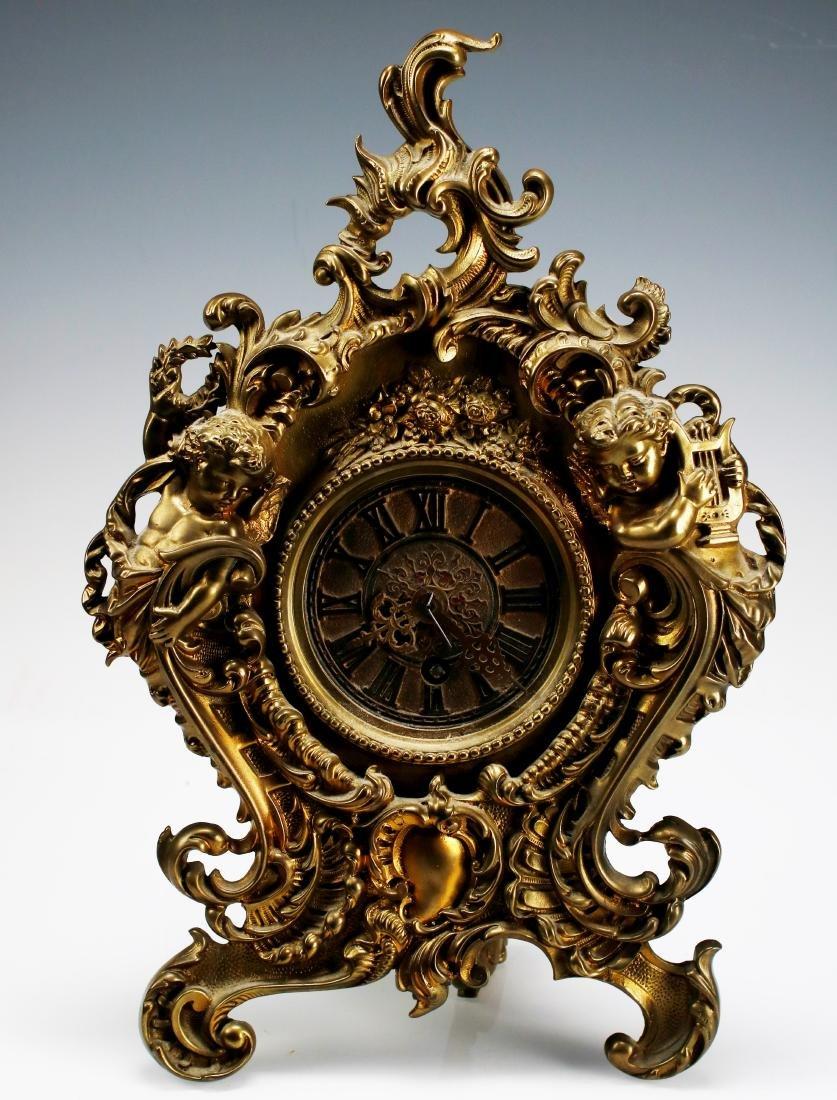 French Brass Cherub Mantle Shelf Clock