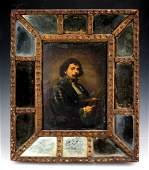 Antique Old Master Framed Oil Painting On Tin