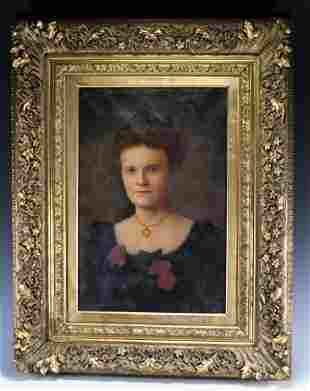 Antique 19th C. Oil on Canvas Portrait of Redhead