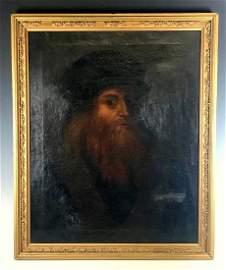 Antique Oil on Canvas Da Vinci Self Portrait