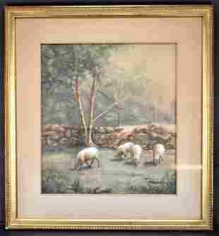 Antique Watercolor Sheep Pasture: artist unknown